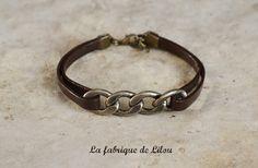 Bracelet cuir marron et gourmette bronze