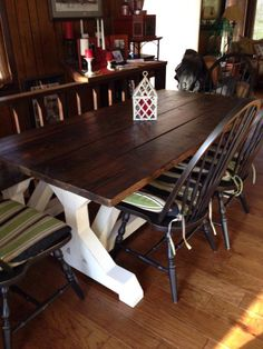 6ft Farmhouse Table   Dark Walnut Classic Top And Solid White X Trestle  Base. #