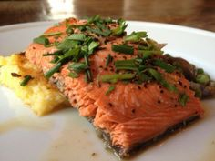 Spring Dinner–Sockeye Salmon with White Wine, Peas, and Wild Mushroom Sauce/ TonjasTable.com