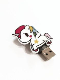 Rainbow Unicorn USB Flash Drive Cute Pony USB Thumb Drive Cartoon Unicorn USB Drive Rainbow Pony Lap Top Accessories Computer Accessories by JulemiJewelry on Etsy