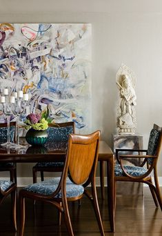 Dining room w abstract art. Terrat Elms Interior Design 11