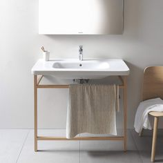 - Great sale on this modern Duravit DuraStyle ACC Towel Rail With Basin. Wooden Bathroom, Modern Bathroom Decor, Industrial Bathroom, Bathroom Images, Bathroom Mirrors, Bathroom Fixtures, Bathroom Ideas, Bad Inspiration, Bathroom Inspiration