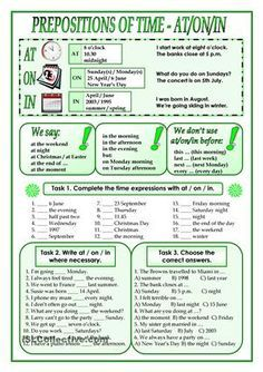 I´ve designed this worksheet for my students to have the rules about when to use at/on/in in time expressions and I´ve also included some practice tasks. Grammar Quiz, English Grammar Rules, Teaching English Grammar, English Grammar Worksheets, Grammar And Vocabulary, Grammar Lessons, English Vocabulary, Writing Lessons, Grammar Exercises