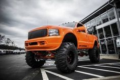 Orange Lifted Ford with Big Mud Tires - YES! #liftedfordtrucks #lifted #ford #trucks #posts Jacked Up Chevy, Lifted Ford Trucks, Jeep Truck, Chevy Trucks, Pickup Trucks, Trucks For Sale, Cool Trucks, Big Trucks, Custom Lifted Trucks