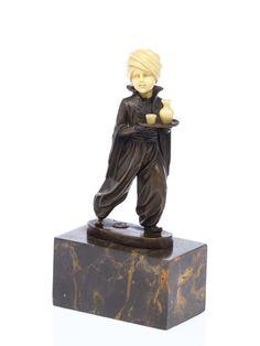 Bronze Skulptur nach Ferdinand Preiss Frau mit Mandoline Laute art deco Style Antiques