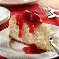 """""""Not only is this our best cheesecake-a rich, creamy, cherry-topped showstopper--it's also one of the easiest to make!""""Heat oven to 350 degrees F.•Mix graham crumbs, butter and 1/4 cup sugar; press …"""