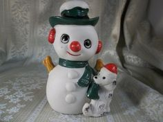Vintage Enesco Christmas Snowman and Dog Knick Knack Figurine 1981 | jjandedt - Collectibles on ArtFire
