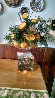 Decoração de mesa com laranja