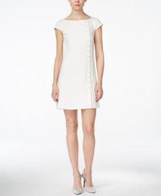 Jessica Simpson Cap-Sleeve Asymmetrical-Lace-Up Shift Dress - Dresses - Women - Macy's