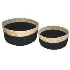 Lot de 2 panières en jonc de mer et coton Ø26xH13cm / Ø26x12,5cm - Noir - Achat / Vente casier pour meuble - Cdiscount
