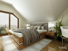 The second bedroom utilizes the same bold textures as the first with a lightened color scheme and a padded headboard. Two Bedroom, Bedroom Decor, Layout, Marble Floor, Linen Bedding, Modern Interior, Color Schemes, Two By Two, House Design