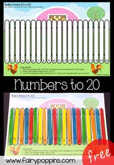 Fence Number Ordering Mats Free order numbers to 20 activity fairy poppinsFree order numbers to 20 activity fairy poppins Numbers Kindergarten, Math Numbers, Teaching Kindergarten, Preschool Activities, Teaching Kids, Learning Numbers Preschool, Educational Activities, Counting Activities, Classroom Activities