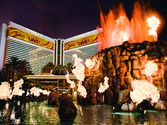The Mirage, Las Vegas || This is a free volcano show that is so much fun to see at night :)