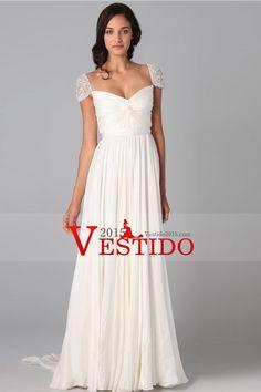 Vestidos de baile 2013 vaina / columna cuello en V gasa de barrido / cepillo cola de la manga del casquillo