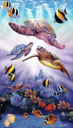 Finished size: x Artist: Steve SundramSunsout puzzles are made in the USAEco-friendly soy-based inksRecycled boardsNot sold in mass-market stores Sea Turtle Pictures, Sea Turtle Art, Sea Turtles, Underwater Art, Image 3d, Turtle Painting, Sea Art, Ocean Creatures, Fish Art
