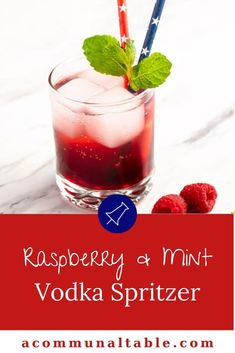 Brighten up your Vodka Spritzer drink with raspberries and Mint! This festive, easy cocktail recipe party friendly and a fab choice for serving a crowd at your next soiree! Spring Cocktails, Fruity Cocktails, Vodka Cocktails, Easy Cocktails, Alcoholic Drinks, Vodka Recipes, Alcohol Drink Recipes, Herb Recipes, Cocktail Party Food