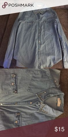 San Souci Denim Shirt Long sleeve denim shirt. Beautiful rhinestones on the collar and pockets. It has only been worn a couple of times. In great condition!! San Souci Tops Button Down Shirts