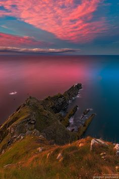 A wonderful sunset above rugged coast on the Halloween evening. Pretty nice bloody colours for that day. Scottish Islands, Amazing Sunsets, Serenity, Landscape Photography, Sunrise, Scenery, Places To Visit, World, Travel