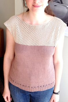 Free Knitting Pattern for Cap Sleeve Lattice Top -Purl Soho designed this tee top that has been rated very easy or easy by hundreds of Ravelrers and features a 4-row repeat lace yorke and stockinette body. Sizes adult small (34″), medium (36″), large (38″). Pictured project by mystique27
