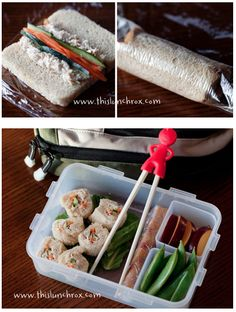 "Healthy lunches for Kids  sushi inspired lunch includes:  sushi sandwich with tuna, carrots & cucumbers, plum slices, snap peas, homemade fruit roll-up.    To make the sushi sandwich I cut the crust from a slice of bread.  In the middle of the bread I spread out rows of tuna with carrots and cucumbers in the middle, then rolled the bread using a piece of saran wrap (I did use a bit of mayo on the edge of the bread to keep the edge ""glued"" down), then sliced the roll into sushi-sized pieces."