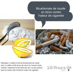 Bicarbonate de soude et citron pour enlever l'odeur de cigarette dans la maison.