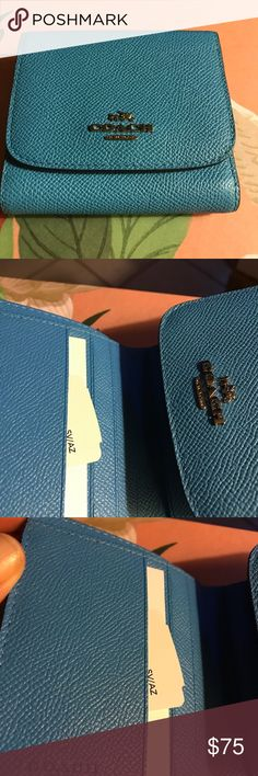 Coach French Blue French Purse Wallet Leather NEW Gorgeous color. Compact but holds a great deal of things. Coach Bags Wallets