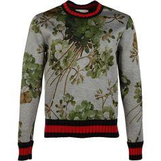 Gucci Fleeces (£565) ❤ liked on Polyvore featuring men's fashion, men's clothing, men's hoodies, men's sweatshirts, grey, mens crewneck sweatshirts, mens crew neck sweatshirts, mens floral sweatshirt and mens fleece sweatshirts