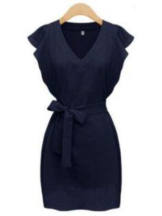 Robe col V manche plissée avec ceinture -bleu marine