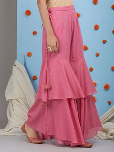 Salwar pants - Old Rose Mulmul Sharara Sleeves Designs For Dresses, Dress Neck Designs, Blouse Designs, Sharara Designs, Kurta Designs Women, Designer Party Wear Dresses, Indian Designer Outfits, Funky Dresses, Stylish Dresses
