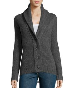 donegal grey rib knit cashmere button front cowl neck cardigan