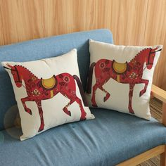 Europe Royal Red Horse Print Seat Chair Cushion Covers Sofa Home Decorative Throw Waist Pillow Case Cover Square 45X45cm KDT1214