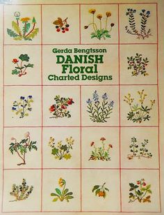 Bengtsson, G: Danish Floral Charted Designs (Dover Embroidery, Needlepoint) Vintage Cross Stitches, Counted Cross Stitch Patterns, Cross Stitch Designs, Blackwork, Dover Publications, Pattern Books, Vintage Patterns, Spring Flowers, Cross Stitching