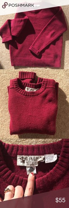 Vintage Shetland wool swtr designed in Scotland Long sleeve thick sweater in beautiful burgundy shade.  Designed in Scotland and made out of 100% pure Shetland wool. This one will seriously keep you warm while looking amazing 💕 Vintage Sweaters Crew & Scoop Necks