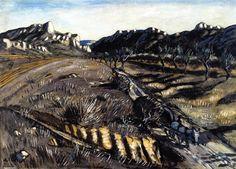 Âne sur un chemin dans la Montagnette, huile sur toile de Auguste Chabaud (1882-1955, France)
