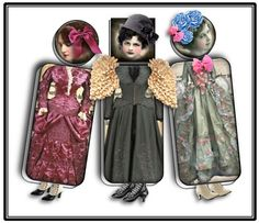 VICTORIAN - DOMINO ALTERED ART DOLLS  You will receive JPEG files free of the copyright symbols.  This is a grouping of printable images to create magnificent domino art dolls.  You will receive 18 images for the domino doll bodies. These images are a collection of Victorian era style dresses.  1 sheet of circular Victorian era faces. 1.06 diameter. Inchies. 24  1 sheet of square Victorian era faces 1X1 – Inchies. 24  1 sheet of 50+ combination hats from the Victorian era and the fifties…
