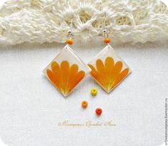 Купить Серьги с сухоцветами - оранжевый, серьги с сухоцветами, серьги с ноготками, цветы ноготки, Оранжевые серьги
