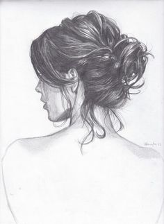 drawing girl with tied hair