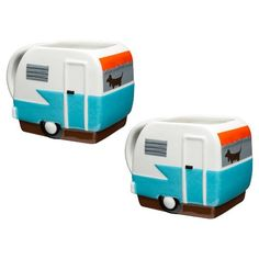 Capture that retro camping feel with this set of two sculpted Adventurer mugs. The cute and charming trailer shape adds a little fun to your morning brew. These mugs are made of BPA free ceramic, great for your favorite hot drinks.