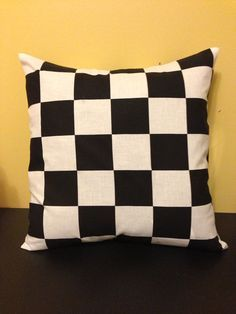 New Throw Pillow Cover handmade with NASCAR checkered flag fabric   on Etsy, $12.99