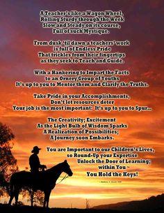 Western Theme Teacher Appreciation Poem