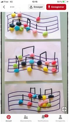 musical notes in playmais, music festival, children& activity, Preschool Crafts, Diy Crafts For Kids, Arts And Crafts, Preschool Music Crafts, Instrument Craft, Music For Kids, Music Classroom, Music Notes, Art Music