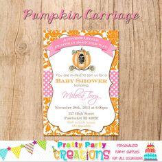 Damask PUMPKIN CARRIAGE invitation  by PrettyPartyCreations, $11.50
