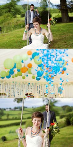 Fun, colorful wedding (click through for so many pictures and the story - entertaining read)