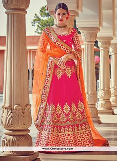 Voluptuous Embroidered Work Hot Pink A Line Lehenga Choli
