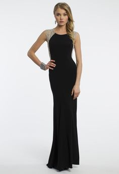 Camille La Vie Jersey Illusion Beaded Prom Dress