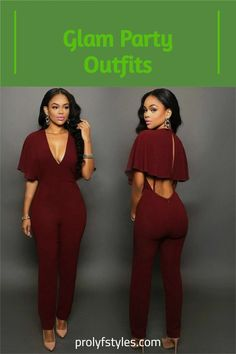 Make a bold fashion statement on Valentine's day in a fancy Valentine's day outfit fora chic feminine style. This classy burgundy jumpsuit is a cute night out outfits for women classy look. Valentine's day outfit ideas for women casual date night fashion. Valentine's style ideas for women street styles Valentine's day stylish outfits, romantic valentine's day outfit, Cute fashion outfits for women's formal outits #womenfashion #womenlook #fashionoutfits Elegant Jumpsuit, Jumpsuit Dressy, Bodycon Jumpsuit, Casual Dress Outfits, Stylish Dresses, Simple Outfits, Stylish Outfits, Classy Lady, Classy Style
