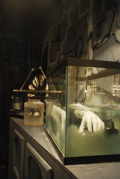 Frankenstein's Lab props... fish tank for larger body parts. Clever!