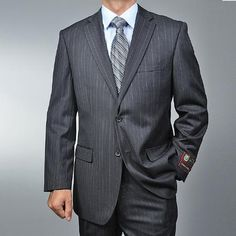 SKU#WE4410 Men's Charcoal Grey Pinstripe 2-button Suit $89 Mens Discount Suits By Style and Quality 2 Button Suits