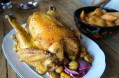 Pollo asado a baja temperatura, con castañas y membrillo