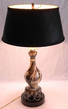 Hollywood Regency Lamps 2 Mid Century Modern Table Lamps Black White Gold MCM Home Decor by SeRepete on Etsy